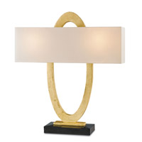 Currey & Company Ovali 2 Light Table Lamp in Contemporary Gold Leaf and Black 6648