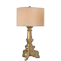 Currey & Company Campsea 1 Light Table Lamp in Reclaimed Wood and Natural Brass 6649