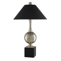 Currey & Company Virtue 2 Light Table Lamp in Silver Granello and Glossy Black 6660