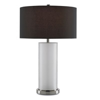 Currey & Company Fargo 1 Light Table Lamp in Nickel with Black Shades 6661