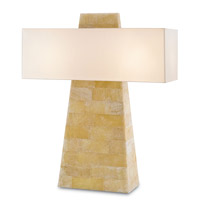 Currey & Company Lautner 2 Light Table Lamp in Natural and White 6662