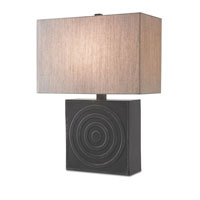 Currey & Company Endless 1 Light Table Lamp in Ebony with Oatmeal Linen Shades 6663