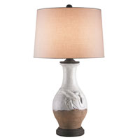 Currey & Company Salvador 1 Light Table Lamp in Off White/Natural/Mole Black with Off White Linen Shades 6670