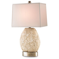 Currey & Company Rosie 1 Light Table Lamp in Antique Cream/Antique Silver Leaf with Cream Silk Shades 6672