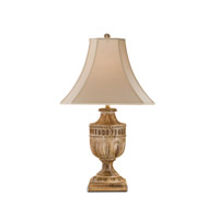 Currey & Company Academy 1 Light Table Lamp in Aged Wood 6680