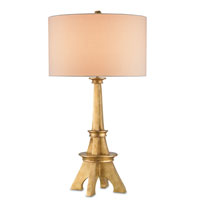 Currey & Company Eiffel 1 Light Table Lamp in Antique Gold Leaf with Vanilla Linen Shades 6683