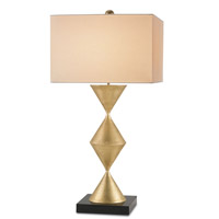 Currey & Company Carnival 1 Light Table Lamp in Dutch Gold/Black with Vanilla Linen Shades 6712