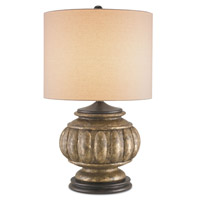 Currey & Company Devonport 1 Light Table Lamp in Distressed Silver Leaf/Black with Tan Linen Shades 6713