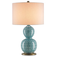 Kateri 30 inch 150 watt Blue/Antique Brass Table Lamp Portable Light