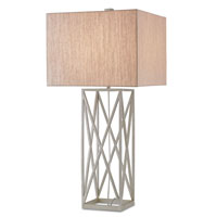 Currey & Company Clemente 1 Light Table Lamp in Silver Granello with Oatmeal Linen Shades 6718