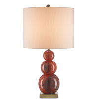 Currey & Company Masquerade 1 Light Table Lamp in Red/Black/Antique Brass with Eggshell Shantung Shades 6723