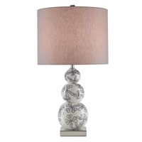 Currey & Company Extravaganza 1 Light Table Lamp in White/Black/Nickel with Gray Linen Shades 6724