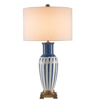 Currey & Company Galene 1 Light Table Lamp in Blue/White/Gold with Off White Shantung Shades 6731