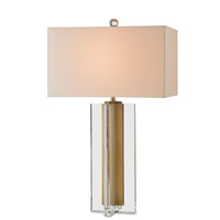 Skye 30 inch 150 watt Clear and Brass Table Lamp Portable Light