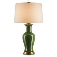 Currey & Company Dorothy 1 Light Table Lamp in Green Crackle and Brass 6747
