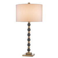 Currey & Company Eastbourne 1 Light Table Lamp in Black/Antique Brass with Off White Shantung Shades 6757