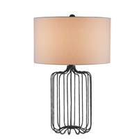 Currey & Company Furlong 1 Light Table Lamp in Mole Black with Off White Linen Shades 6786
