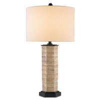 Currey & Company Crane 1 Light Table Lamp in Beige and Distressed Black 6787