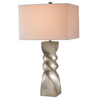 Currey & Company Danzey 1 Light Table Lamp in Silver Leaf with Off White Linen Shades 6793