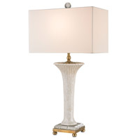 Currey & Company Massina 1 Light Table Lamp in Light Beige Crackle and Anti Brass 6794