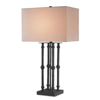 Currey & Company Ravensbourne 1 Light Table Lamp in Mole Black with Off White Linen Shades 6795