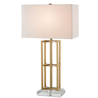 Currey & Company Devonside 1 Light Table Lamp in Coffee Brass and Clear 6801