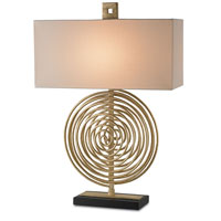 Currey & Company Cirque 1 Light Table Lamp in Dutch Gold/Satin Black with Vanilla Linen Shades 6802