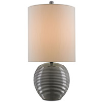 Currey & Company Ross 1 Light Table Lamp in Gray and Satin Black 6807