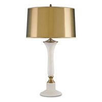 Currey & Company Longcroft 1 Light Table Lamp in White and Antique Brass 6811