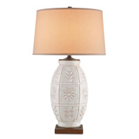 Currey & Company Meadow 1 Light Table Lamp in Worn Antique White and Sedona Brown 6821