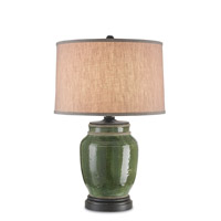 Carver 30 inch 150 watt Green and French Black Table Lamp Portable Light