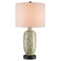 Currey & Company Savanna 1 Light Table Lamp in Antique Sage and Satin Black 6828