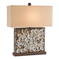 Currey & Company Oyster 1 Light Table Lamp in Rust and Natural 6835