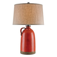 Currey & Company Burnham 1 Light Table Lamp in Baltik Red and Mole Black 6849