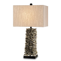 Currey & Company Villamare 1 Light Table Lamp in Natural/Satin Black 6862