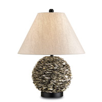 Currey & Company Amalfi 1 Light Table Lamp in Natural/Satin Black 6863