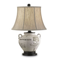 Currey & Company Summerhouse 1 Light Table Lamp in Antique White/Distressed Black 6882