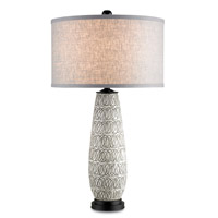 Currey & Company Cipher 1 Light Table Lamp in Satin Black/Antique White 6891