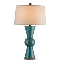 Currey & Company Upbeat 1 Light Table Lamp in Teal 6896