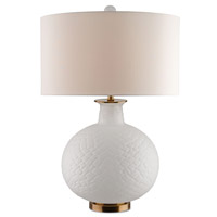 Currey & Company Qamar 1 Light Table Lamp in Frosted and Antique Brass 6900