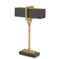 Currey & Company Apropos 2 Light Table Lamp in Satin Black and Contemporary Gold Leaf and Black 6902