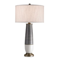 Currey & Company Urbino 1 Light Table Lamp in Pyrite Bronze/Gray/White Crackle 6905