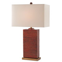 Currey & Company 6912 Archer 31 inch 150 watt Red and Antique Brass Table Lamp Portable Light