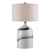 Essay 26 inch 150 watt Bone White and Blue Table Lamp Portable Light