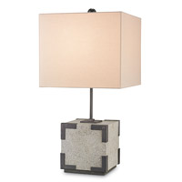 Currey & Company Makeweight 1 Light Table Lamp in Aged Steel and Polished 6953