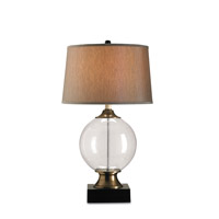 Motif 32 inch 150 watt Blown Glass/Black Table Lamp Portable Light