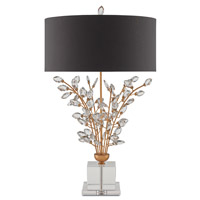Currey & Company Forget-Me-Not 2 Light Table Lamp in Chinois Gold Leaf and Clear 6983
