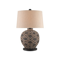 Afrikan 14 inch 150 watt Black / Tan / Distressed Black Table Lamp Portable Light