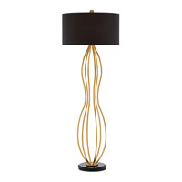 Currey & Company 8000-0014 Nami 70 inch 100 watt Contemporary Gold Leaf and Black Floor Lamp Portable Light