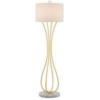 Currey & Company 8000-0065 Hanami 62 inch 150 watt Gold Leaf/White Floor Lamp Portable Light
